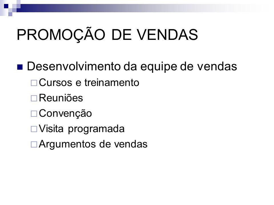 PROMOÇÃO DE VENDAS Desenvolvimento da equipe de vendas