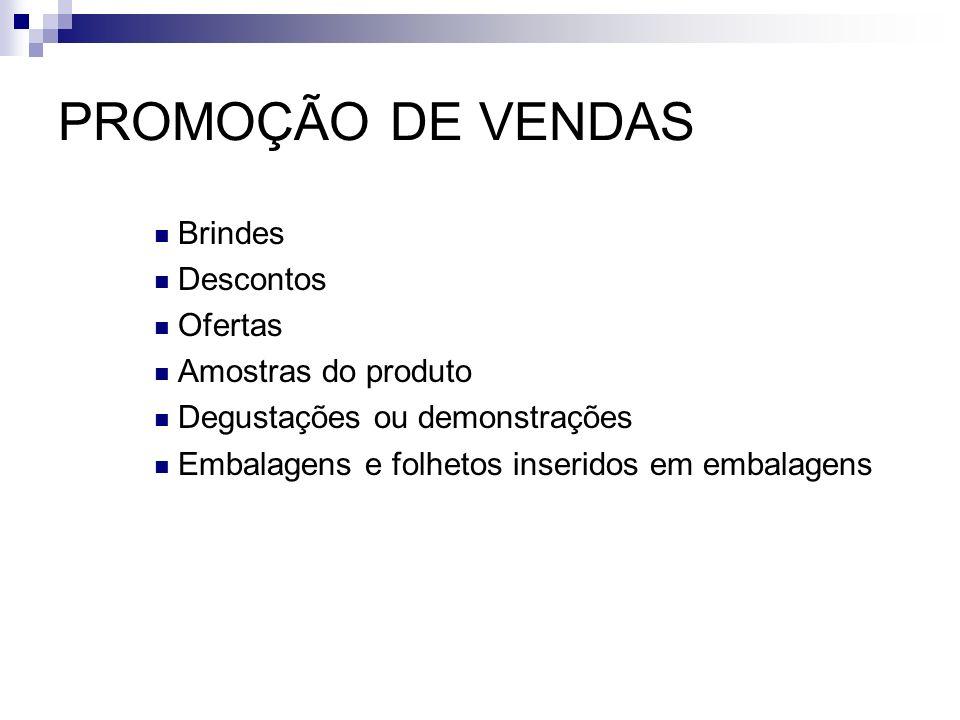 PROMOÇÃO DE VENDAS Brindes Descontos Ofertas Amostras do produto