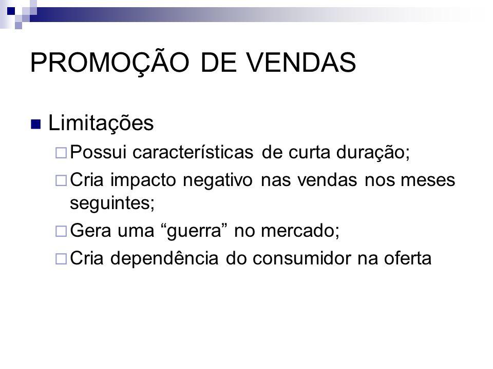 PROMOÇÃO DE VENDAS Limitações Possui características de curta duração;