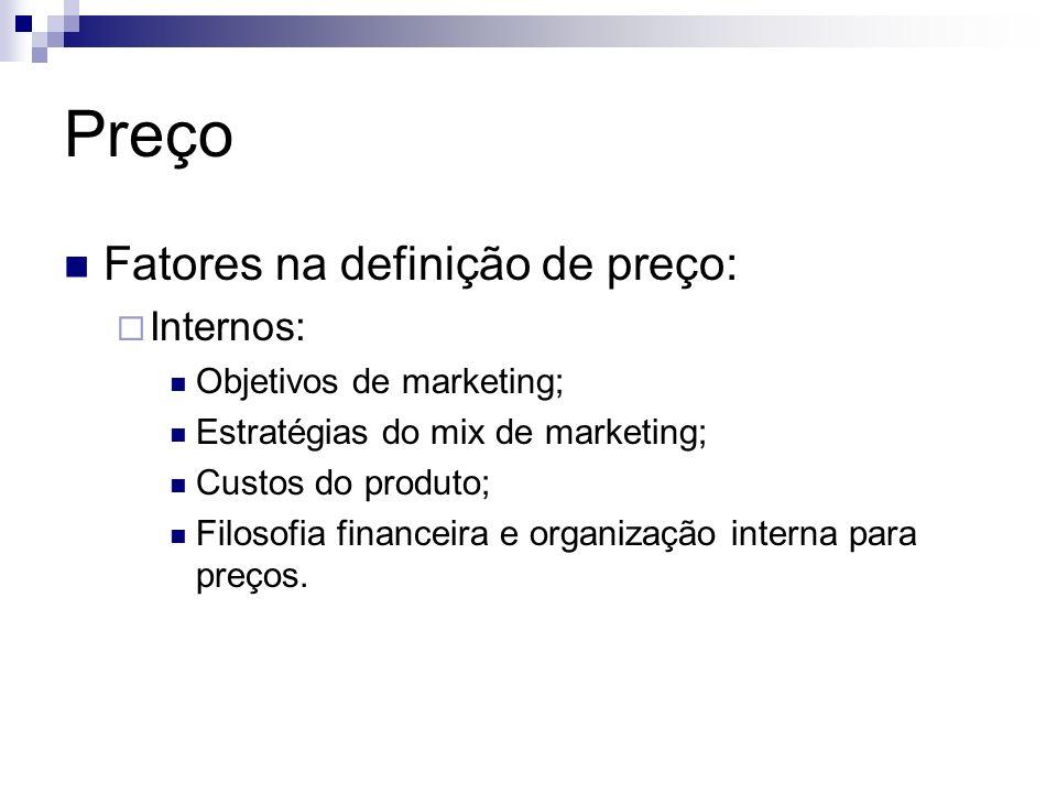 Preço Fatores na definição de preço: Internos: Objetivos de marketing;