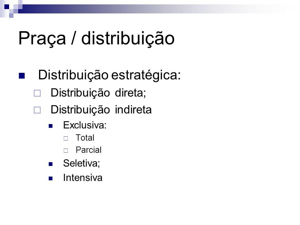 Praça / distribuição Distribuição estratégica: Distribuição direta;