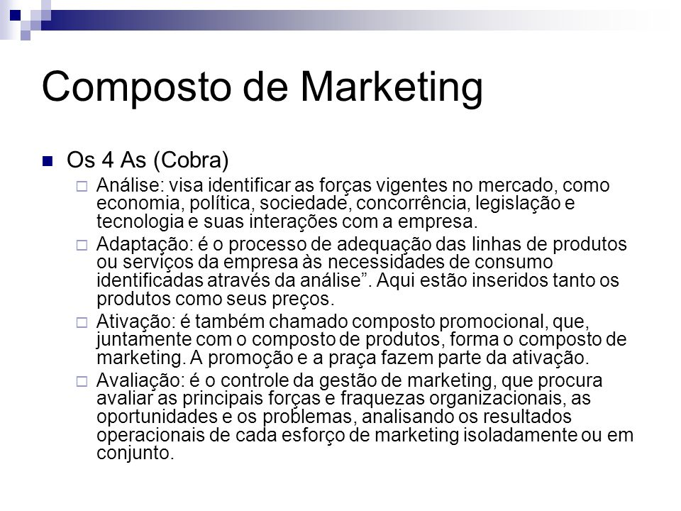Composto de Marketing Os 4 As (Cobra)