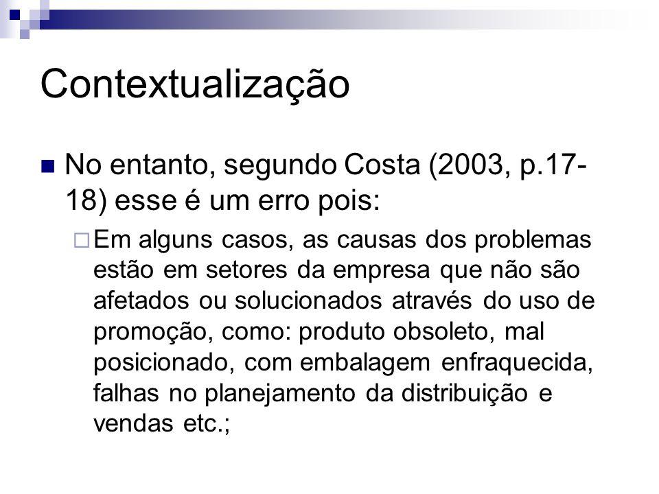 Contextualização No entanto, segundo Costa (2003, p.17-18) esse é um erro pois: