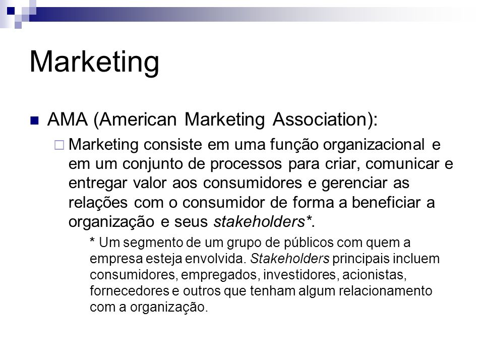Marketing AMA (American Marketing Association):