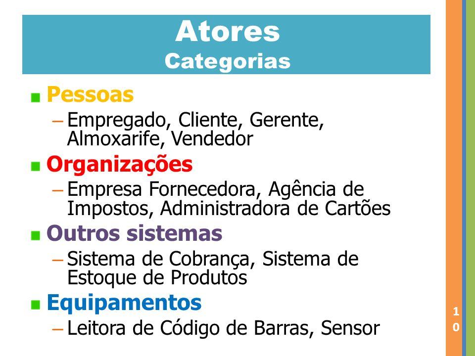 Atores Categorias Pessoas Organizações Outros sistemas Equipamentos