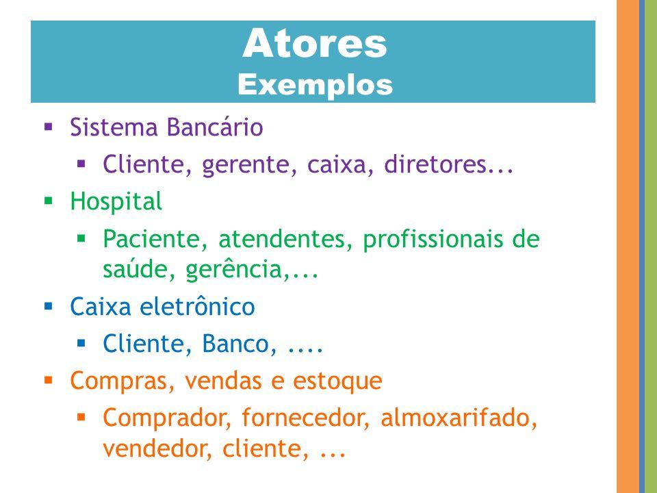 Atores Exemplos Sistema Bancário Cliente, gerente, caixa, diretores...