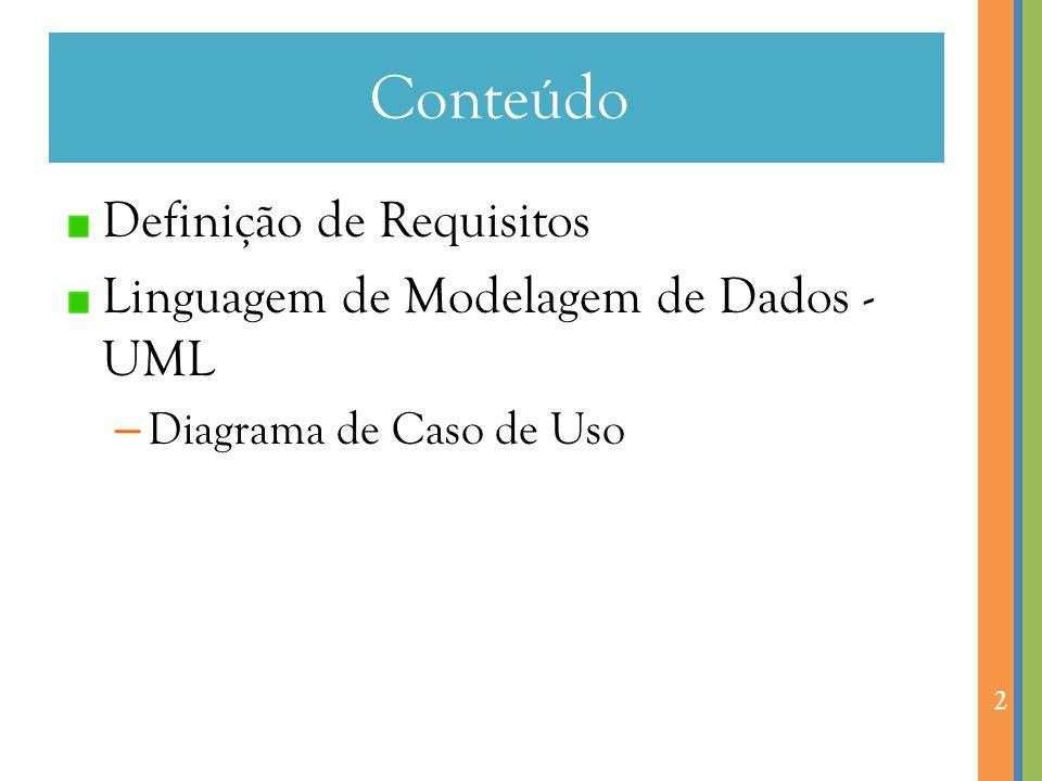 Conteúdo Definição de Requisitos Linguagem de Modelagem de Dados - UML