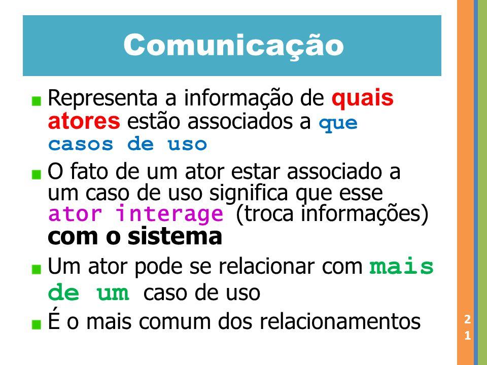 Comunicação Representa a informação de quais atores estão associados a que casos de uso.