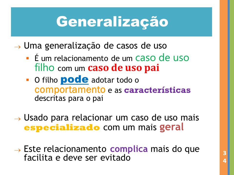 Generalização Uma generalização de casos de uso