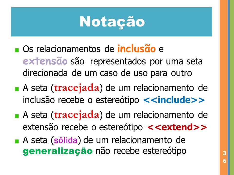 Notação Os relacionamentos de inclusão e extensão são representados por uma seta direcionada de um caso de uso para outro.