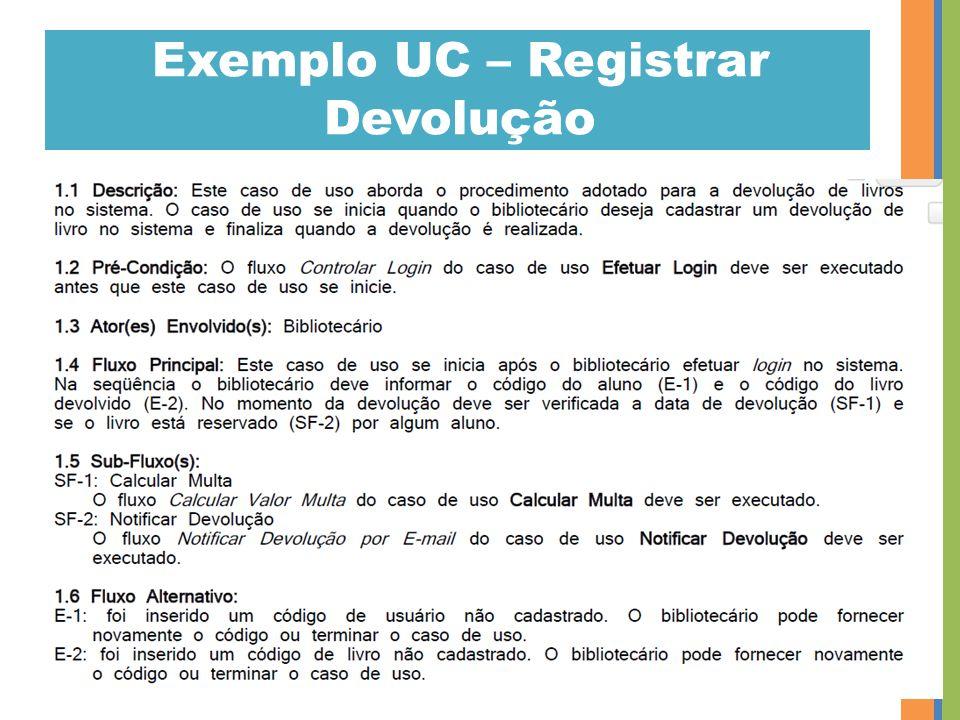 Exemplo UC – Registrar Devolução