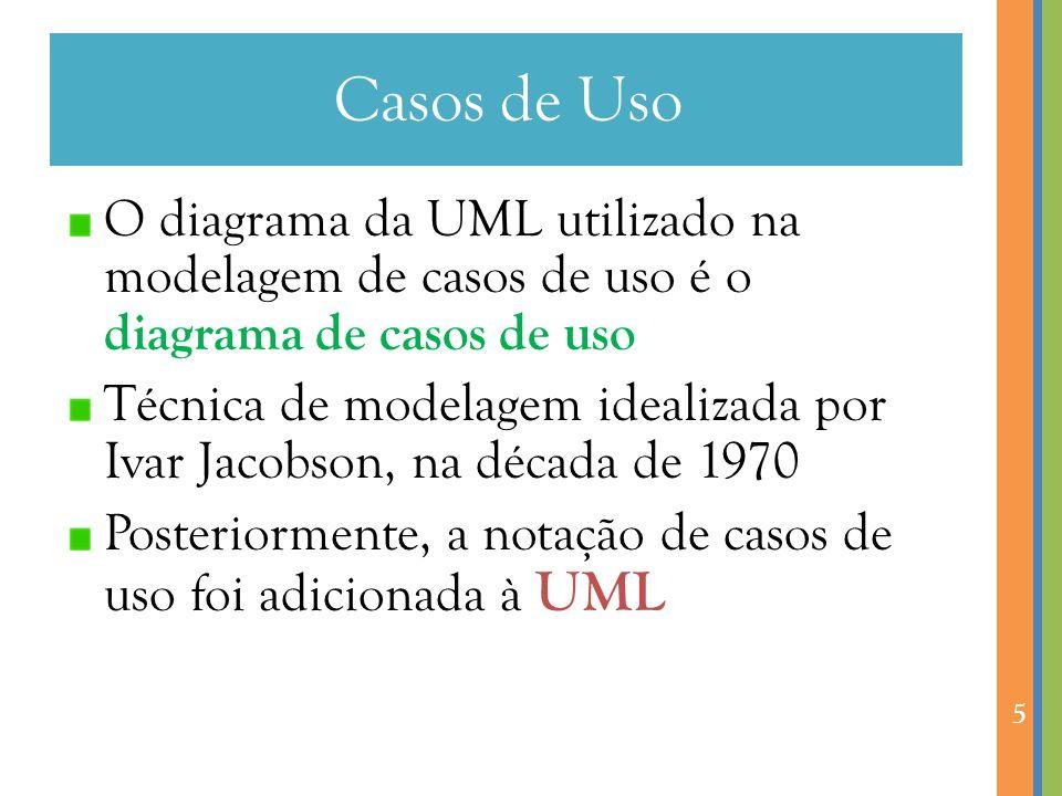 Casos de Uso O diagrama da UML utilizado na modelagem de casos de uso é o diagrama de casos de uso.