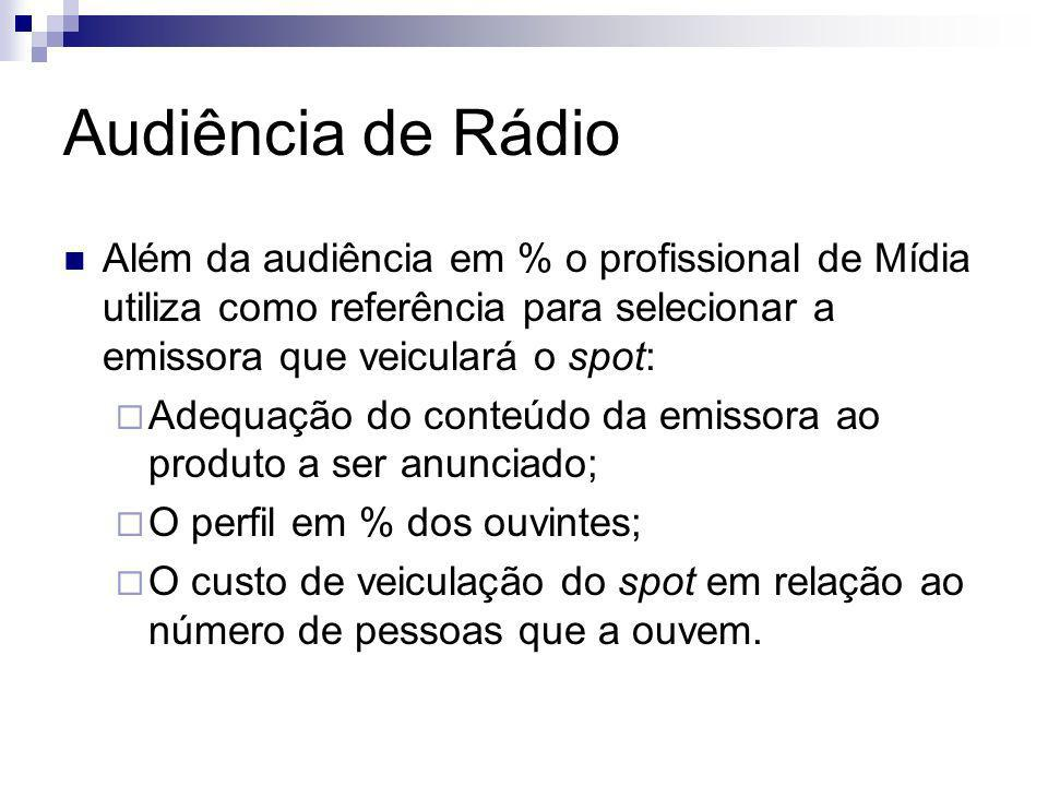 Audiência de Rádio Além da audiência em % o profissional de Mídia utiliza como referência para selecionar a emissora que veiculará o spot: