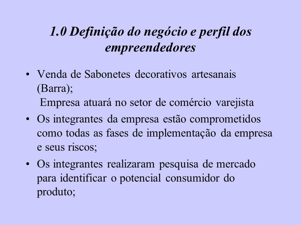 1.0 Definição do negócio e perfil dos empreendedores