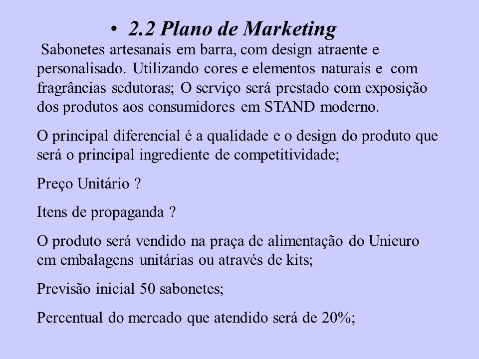 2.2 Plano de Marketing