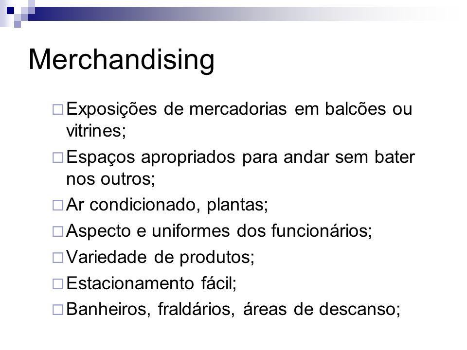Merchandising Exposições de mercadorias em balcões ou vitrines;