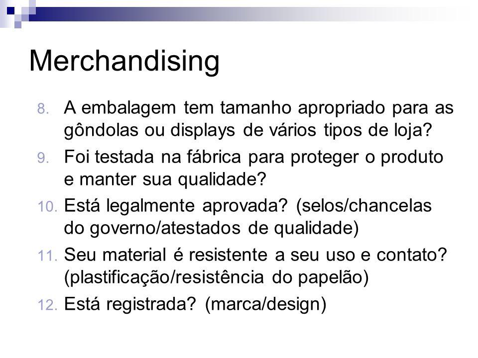 Merchandising A embalagem tem tamanho apropriado para as gôndolas ou displays de vários tipos de loja
