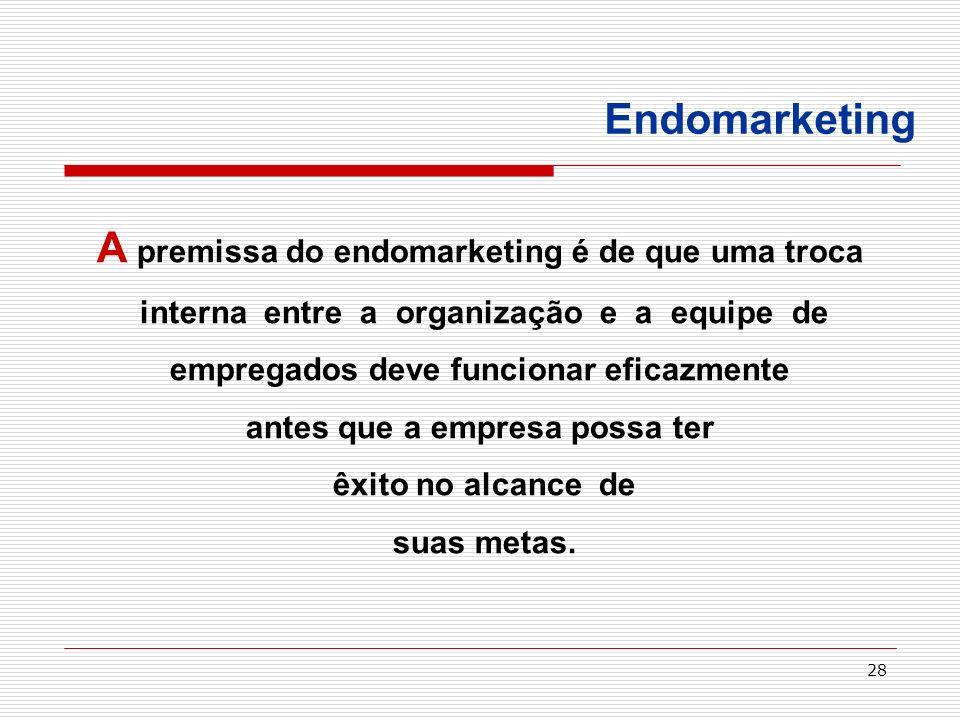 A premissa do endomarketing é de que uma troca