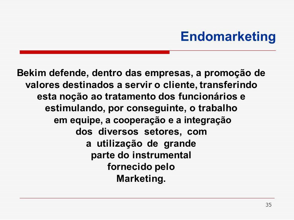 Endomarketing Bekim defende, dentro das empresas, a promoção de valores destinados a servir o cliente, transferindo.