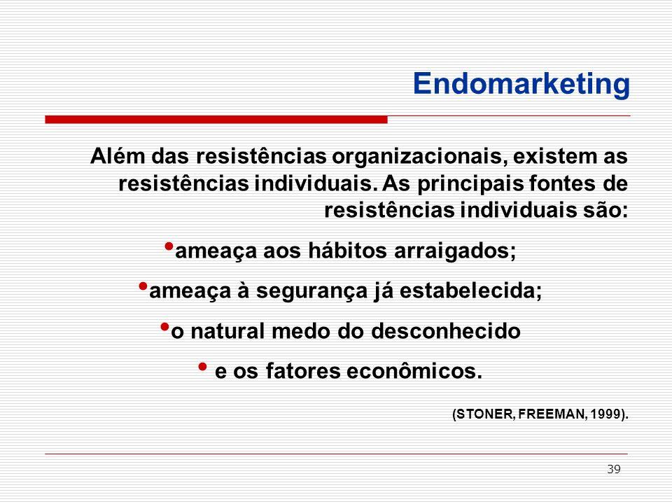 Endomarketing Além das resistências organizacionais, existem as resistências individuais. As principais fontes de resistências individuais são: