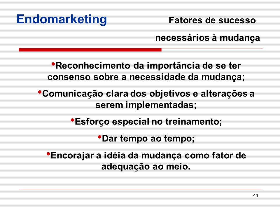 Endomarketing Fatores de sucesso