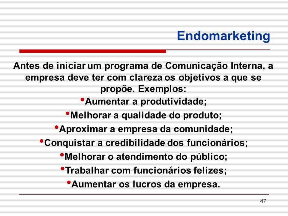 Endomarketing Antes de iniciar um programa de Comunicação Interna, a empresa deve ter com clareza os objetivos a que se propõe. Exemplos:
