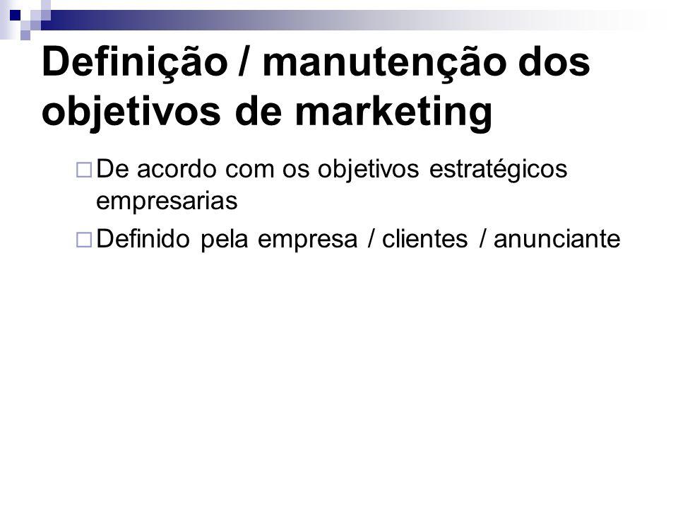 Definição / manutenção dos objetivos de marketing