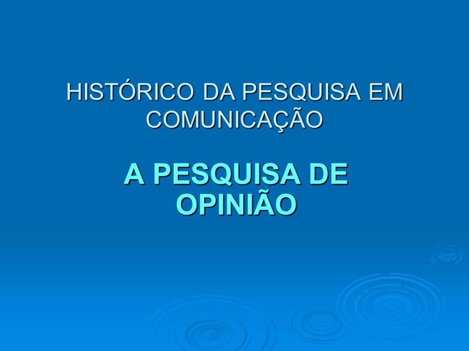HISTÓRICO DA PESQUISA EM COMUNICAÇÃO