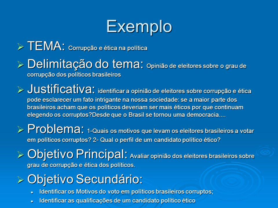 Exemplo TEMA: Corrupção e ética na política