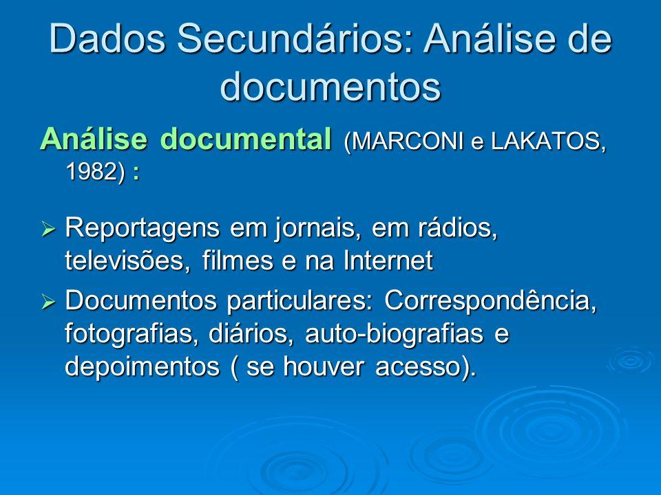 Dados Secundários: Análise de documentos