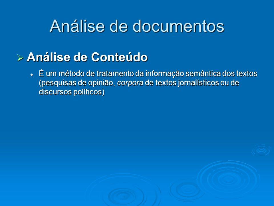 Análise de documentos Análise de Conteúdo