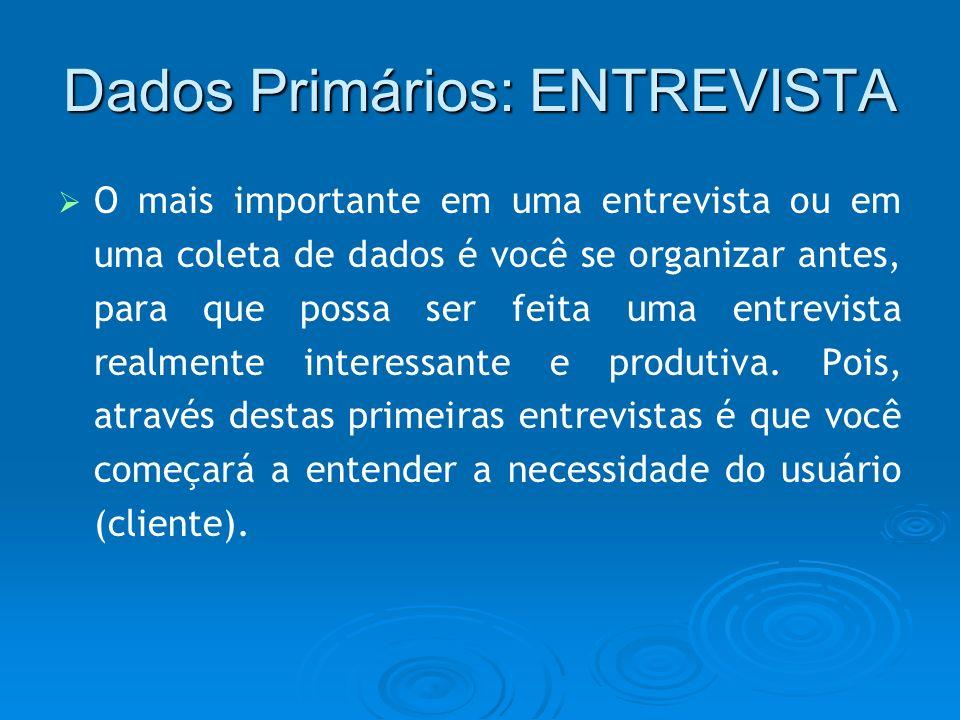Dados Primários: ENTREVISTA