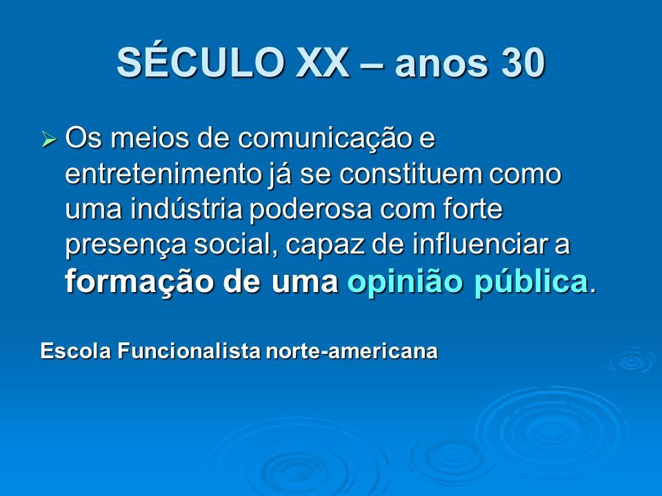 SÉCULO XX – anos 30