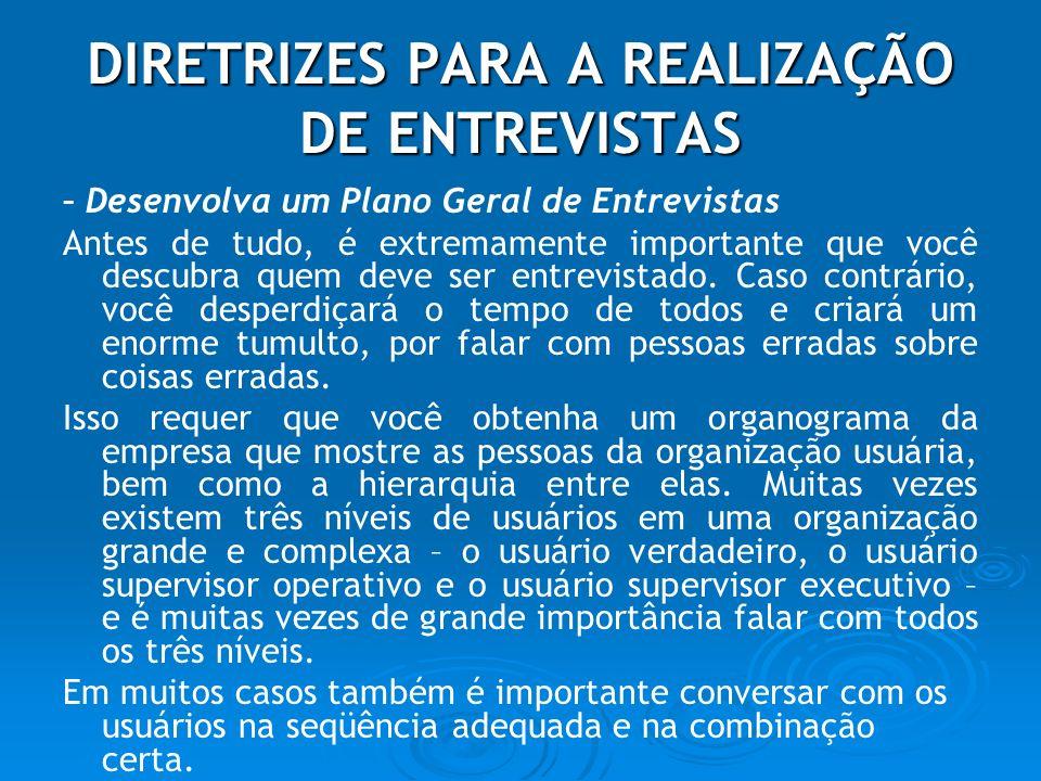 DIRETRIZES PARA A REALIZAÇÃO DE ENTREVISTAS
