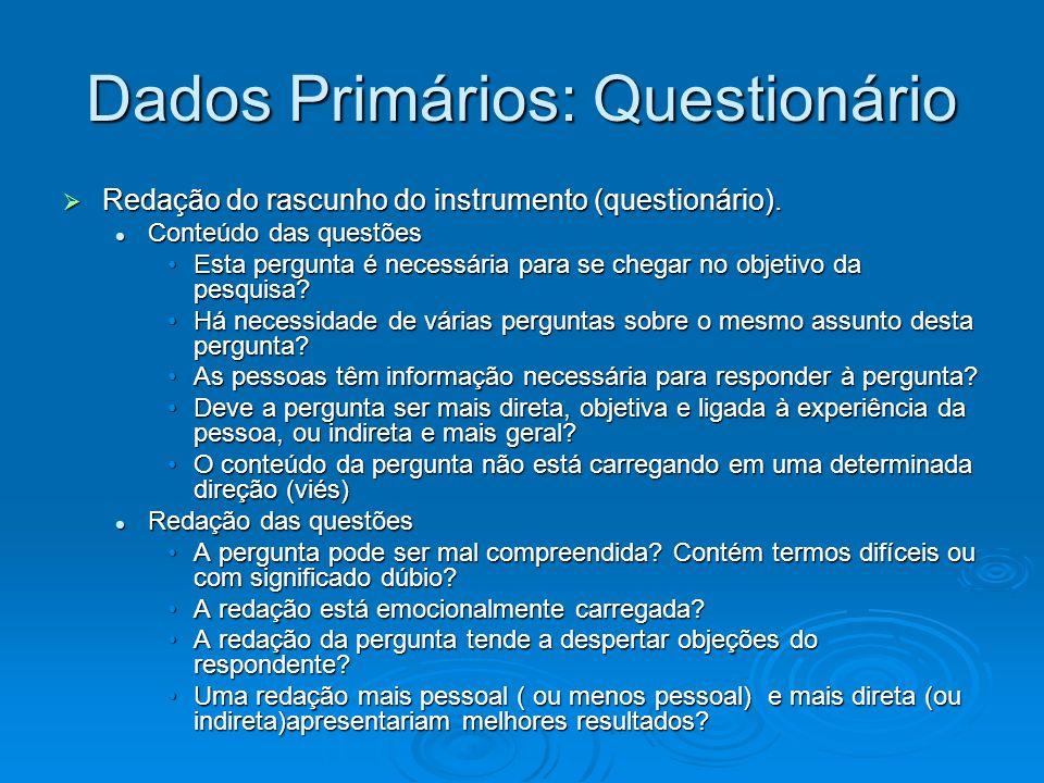 Dados Primários: Questionário