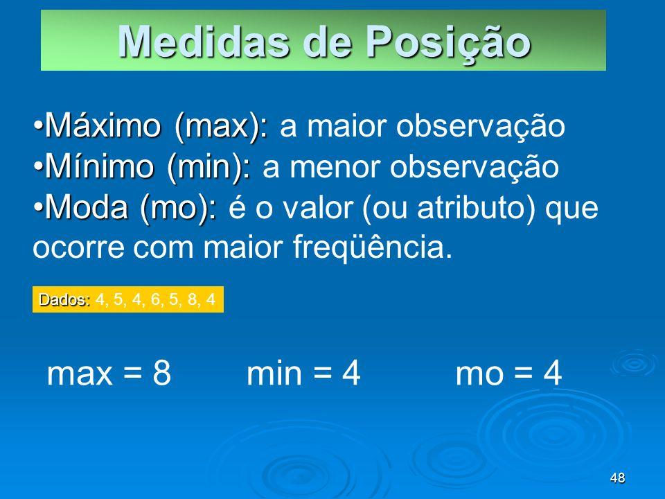 Medidas de Posição max = 8 min = 4 mo = 4