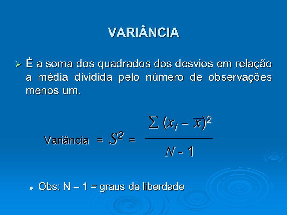 VARIÂNCIA É a soma dos quadrados dos desvios em relação a média dividida pelo número de observações menos um.