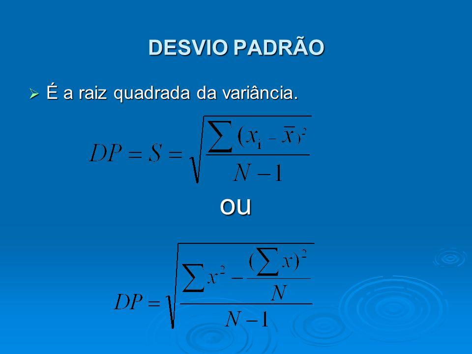 DESVIO PADRÃO É a raiz quadrada da variância. ou