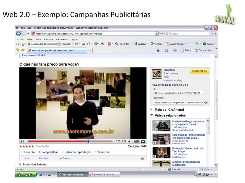 Web 2.0 – Exemplo: Campanhas Publicitárias