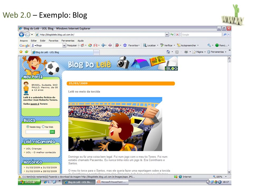 Web 2.0 – Exemplo: Blog