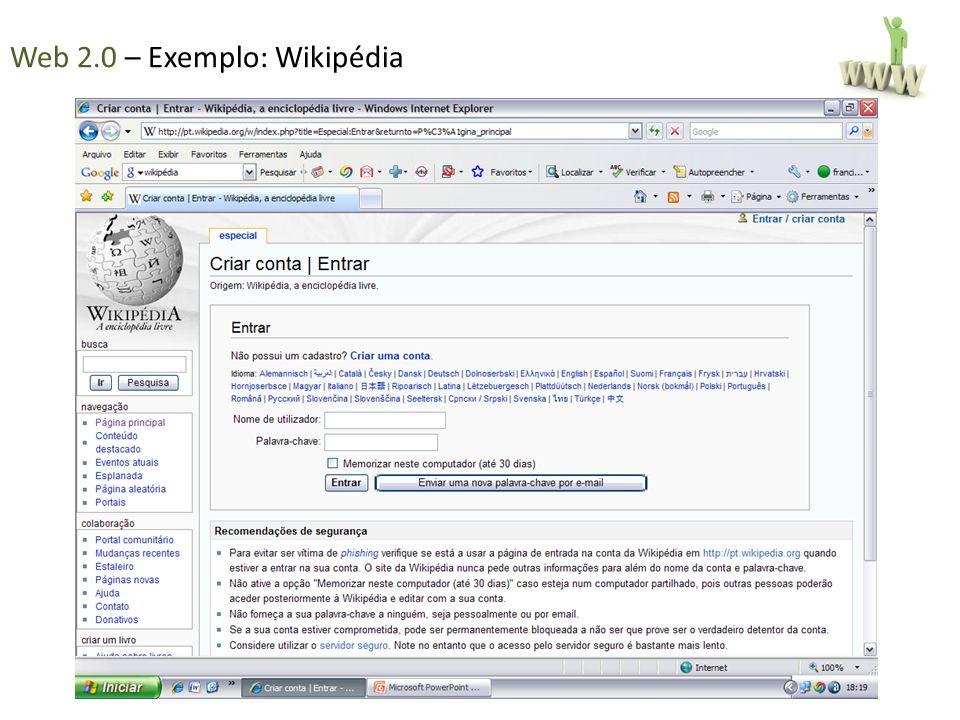 Web 2.0 – Exemplo: Wikipédia