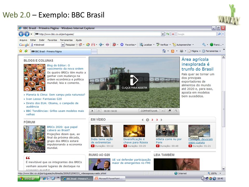 Web 2.0 – Exemplo: BBC Brasil