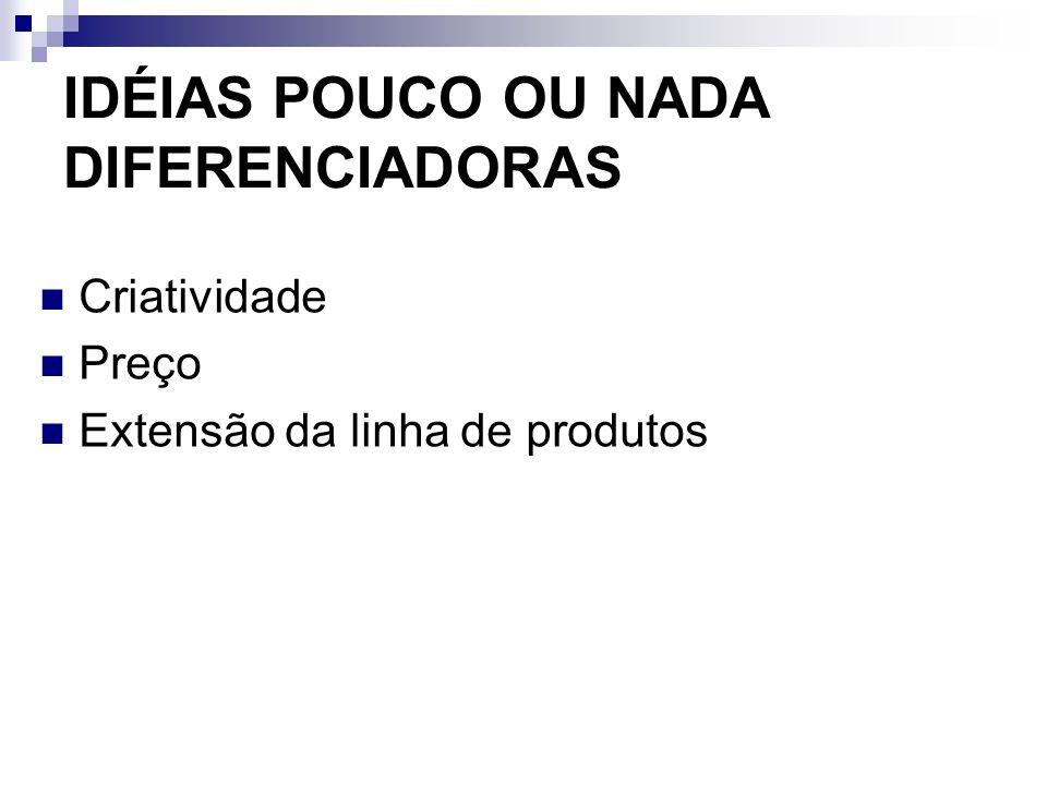 IDÉIAS POUCO OU NADA DIFERENCIADORAS