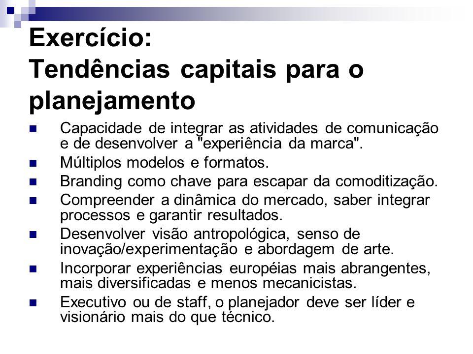 Exercício: Tendências capitais para o planejamento