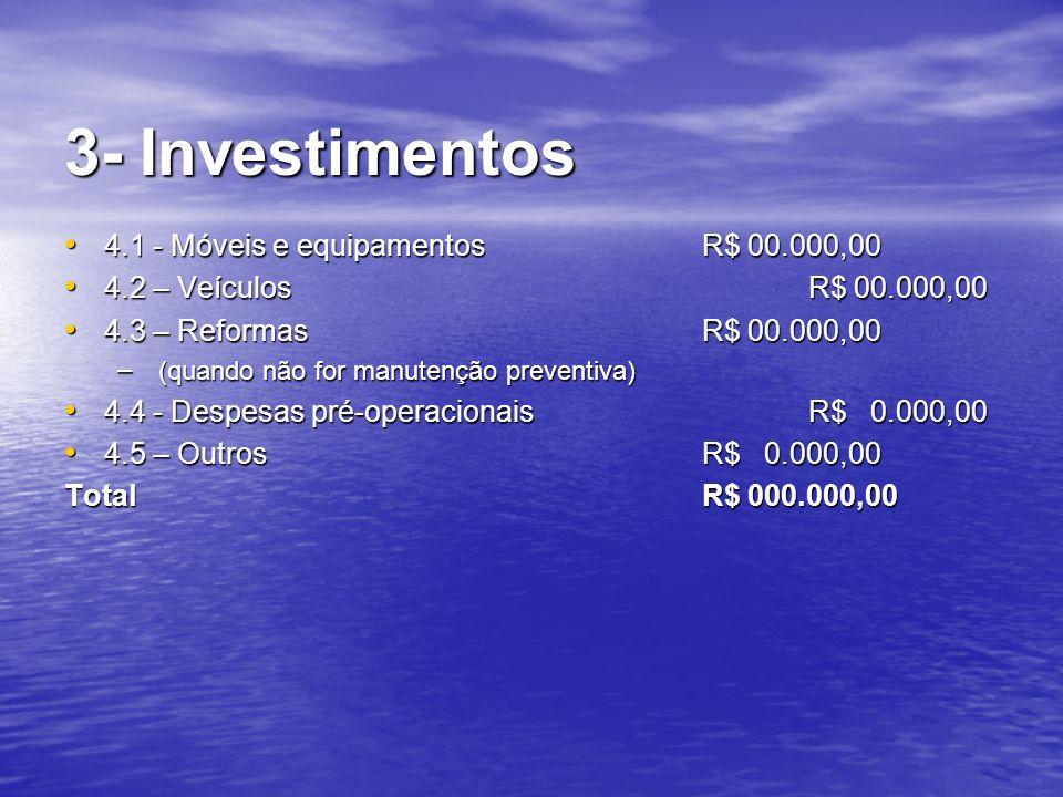 3- Investimentos 4.1 - Móveis e equipamentos R$ 00.000,00