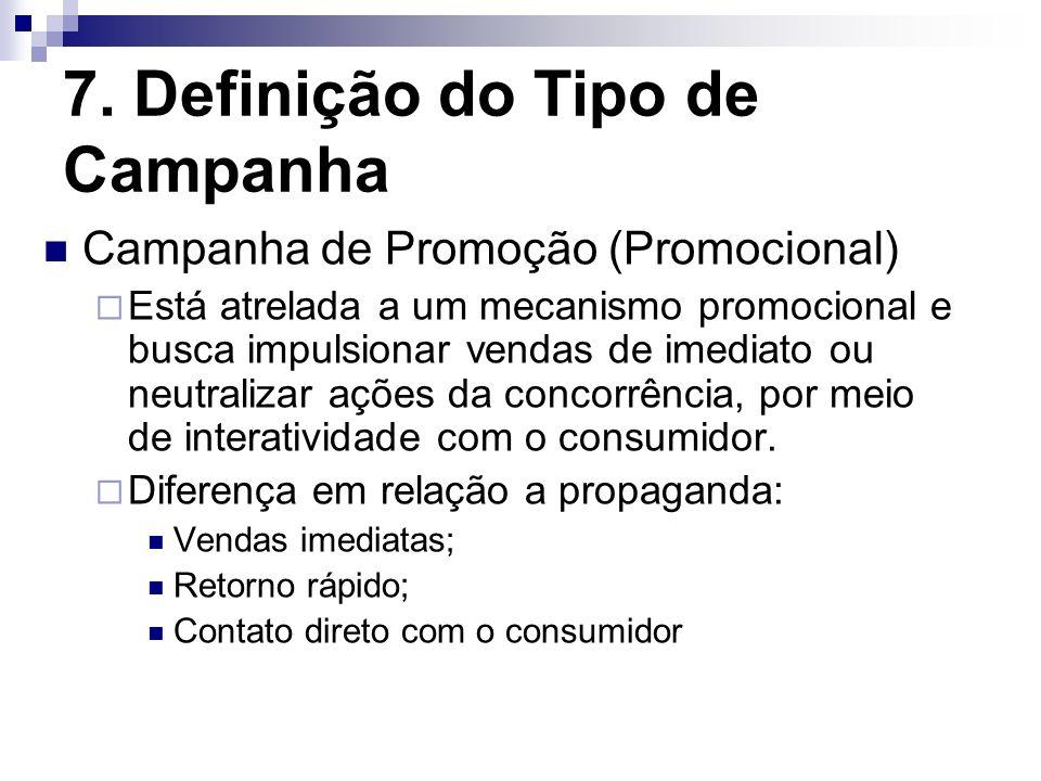 7. Definição do Tipo de Campanha