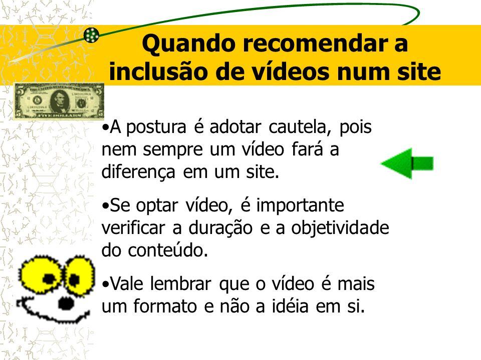 Quando recomendar a inclusão de vídeos num site