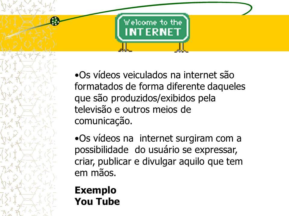 Os vídeos veiculados na internet são formatados de forma diferente daqueles que são produzidos/exibidos pela televisão e outros meios de comunicação.