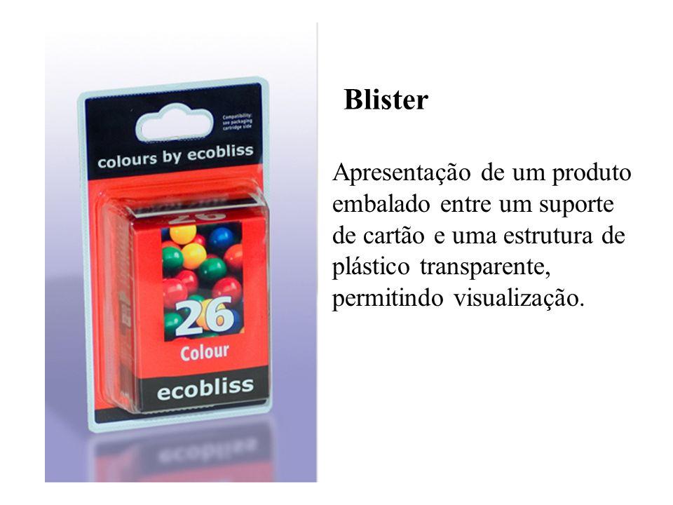 BlisterApresentação de um produto embalado entre um suporte de cartão e uma estrutura de plástico transparente, permitindo visualização.