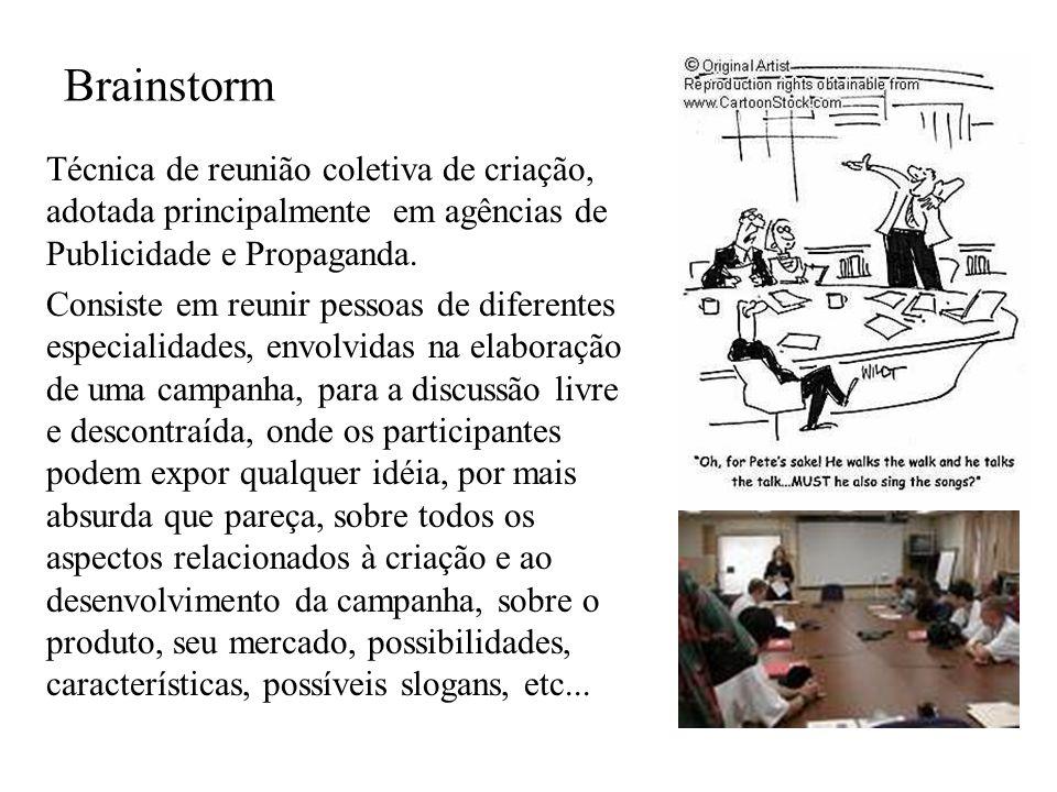 Brainstorm Técnica de reunião coletiva de criação, adotada principalmente em agências de Publicidade e Propaganda.